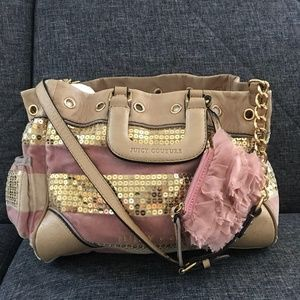 Juicy Couture sequined Damsel pink and gold purse